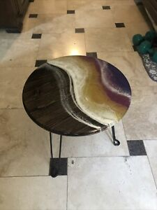 Gorgeous Sunset Series Original Art Work wood table With Resin Overlay- Portable