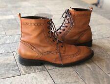 A. Testoni Basic Men's Wingtip Ankle Boots Shoes Brogue Cognac Brown 10 M 54626