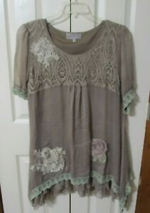 Pretty Angel Women's Taupe/Brown Boho Silk Blend Tunic Size XL Worn 1X GUC