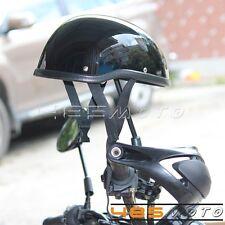 Motorcycle Half Helmet Skull Cap For Chopper Bobber Cruiser Bikes Gloss Black