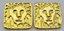Square Gold Tone Metal Lion Head Jungle Cat Pierced Post Earrings