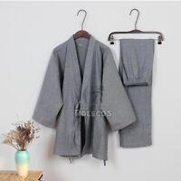 Japanese  Unisex JINBEI Kimono Sleepwear Pajama Sets Long Sleeve Top Pants