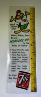 """Vintage 7up Ruler With Fresh Up Freddy 6"""" 1970 Children' Bicycle Safety Tool"""