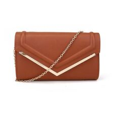 Women Envelope Party Clutch - Faux Leather Shoulder Evening Handbag Plain White