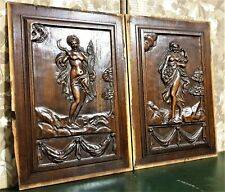 Pair nude lady drapery wood carving panel Antique french architectural salvage