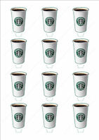 Novelty Starbucks Coffee Cup Edible Cake Cupcake Toppers Decorations Birthday