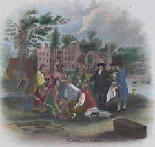 1857 Hand Colored  William Penn Lenape Indians Philadelphia Pennsylvania