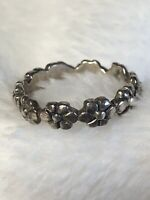 #462 Vintage Daisy Chain Ring, 925 Sterling Silver, Full Circle Of Flower, Sz 7