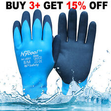 More details for new fully latex coated winter waterproof work gloves grip builders gardening