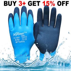 New Fully Latex Coated Winter Waterproof Work Gloves Grip Builders Gardening
