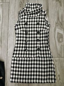Cute Black & White Check Hounds Tooth Mini Retro Dress Size 10 60s 70s style