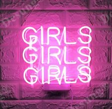 "New Girls Girls Girls Neon Light Sign 14"" Lamp Beer Bar Acrylic Real Glass"