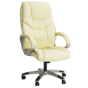 Executive Office Chair Faux Leather Padded Seat Swivel High Back Ergonomic White