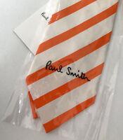 Paul Smith Stripe Tie Orange & White Stripe Tie 100% Silk Made in Italy
