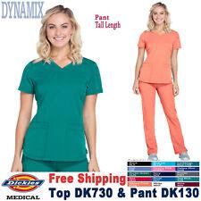 Dickies Scrubs Set DYNAMIX Women's V-Neck Top & Waistband Pant DK730/DK130 Tall