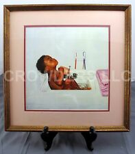 "Squeaky Clean by Donald Zolan Child Bathing in Sink Framed Matted Print 12""x12"""