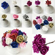 Full Glittered Foam Rose Artificial Flowers Bling Glittery Shiny Fake Silk Decor