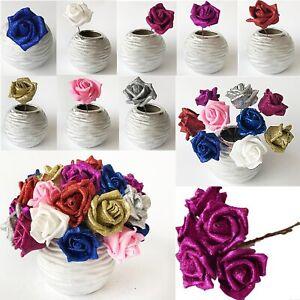 Full Glittered Foam Rose Artificial Flowers Bling Glittery Shiny Fake Silk Decor
