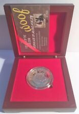 """2018 """"YEAR OF THE DOG"""" 1 Oz Coin 999 Silver Plated in Display Box, with C.O.A."""