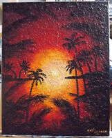 Original Wall Art, Hand-Painted Acrylic Sunset ,Coastal 16x20 Stretched Canvas