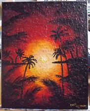 Original Wall art, hand-painted acrylic Sunset ,coastal16x20 stretched canvas