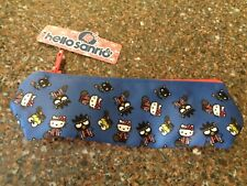 "Hello Sanrio Kitty Pencil Case 9"" x 3"" Cloth Pouch Make Up Bag NWT"