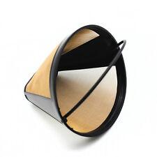 TOP Kegel Form Kaffee Sieb mit Griff aus Kunststoff Gold Masche Edelstahl Filter