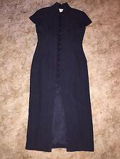 EVAN PICONE sz 12 Black Full Length Button Down Dress