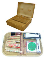 WOODEN BOX RAW TRAY - INCLUDES ROLLING MACHINE/MAT/GRINDER/TIPS/PAPERS GIFT SET