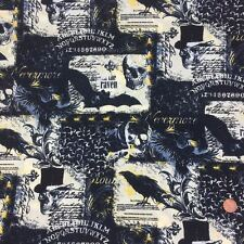 "Raven, Goth/ Halloween 100% cotton fabric, black 58"" wide (147cm) per 1/2 Metre"