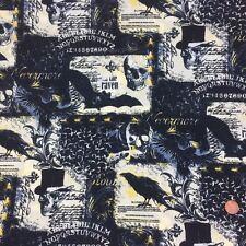 "Raven, Goth/ Halloween 100% cotton fabric, black 58"" wide (147cm) per 1/2 Metre"