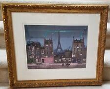 Tour Eiffel la Nuit - Michel Delacroix - Gallery Framed in nice Gold Frame w COA