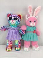 Build a Bear Lot - Princess Sparkle Cat & Tie Die Leopard with Outfits