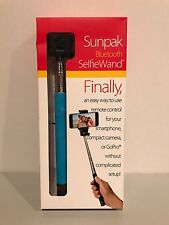 Sunpak Bluetooth Selfie Stick Wand Blue Works with iPhones Android Smartphones!