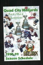 Quad City Mallards--1998-99 Pocket Schedule--APAC TeleServices