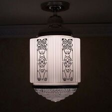 276 Vintage aRT DEco 30s Chrome Ceiling Light Fixture Pendant Glass bath hall