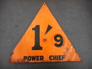 VINTAGE ORIGINAL RARE TEXACO POWER CHIEF PETROL BOWSER PETROL PUMP TOP SIGN