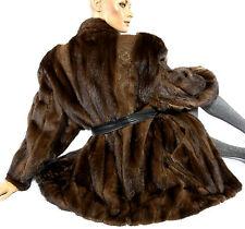 L Nerzjacke Leder Pelz Lederjacke Nerz Fledermausärmel mink fur leather jacket