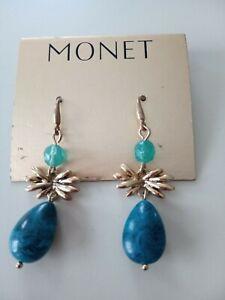 Vintage Monet Earrings On Original Card Gold Tone Dangle Drop