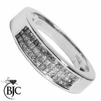 BJC® 18ct White Gold Diamond 0.48ct size O Cluster Princess ring R111