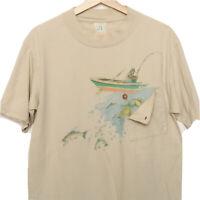 Vintage Fishing Fisherman Medium Trout T Shirt Pocket Novelty Made in USA RARE!