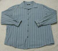 XXL Alfani Dress Shirt Long Sleeve Mans Button Up Striped 2XL Men's Blue & White