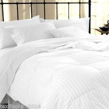 400tc 100 Egyptian Cotton White Satin Stripe Duvet Cover Pillow Case Bedding White Super King