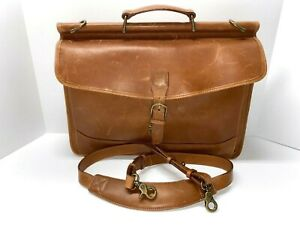 LL BEAN Signature Brown Distressed Saddle Leather Briefcase / Messenger Bag NWOT