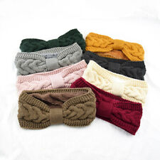 Knitted Bow Headband Crochet Twist Fleece Lined Warmer Hairwear Elegant Headwrap