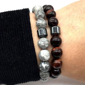 2PCS Men Classic Landscape Tiger Eye Gem Stone Beaded Healing Bracelet Boyfriend