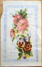 1900 Chicoree/Moka Advertising w/Victorian Diecut Scrap: Pansy Flowers - 4