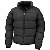 Mens Padded Puffer Jacket Result Urban Holkham Down Feel Black and Navy S-3XL