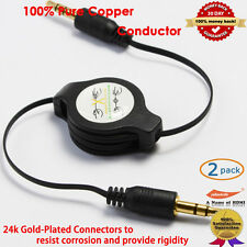2pcs, Gold 3.5MM Black Auxiliary Cable Cord for iPod/iPhone/Zune/Car Stereo/MP3