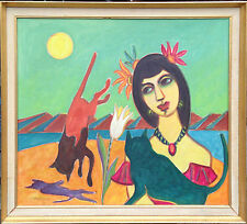 Erik Larsen  (1902-1975): LADY WITH CRAZY CATS